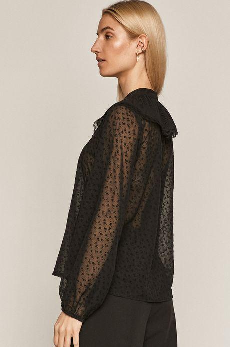 Bluzka damska z transparentnego materiału z aplikacją czarna