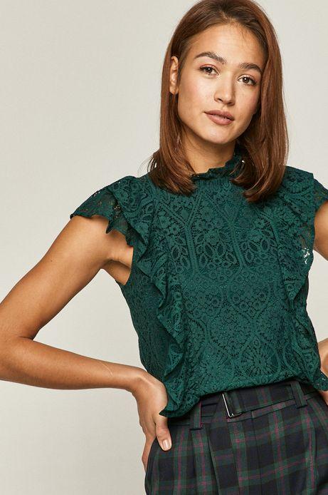Bluzka damska koronkowa z falbanką zielona