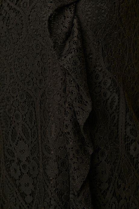 Bluzka damska koronkowa z falbanką czarna