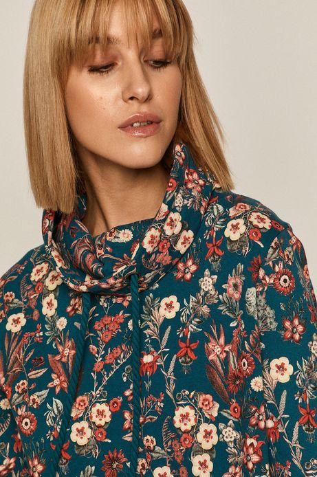 Bluza bawełniana damska z podwyższonym kołnierzem zielona