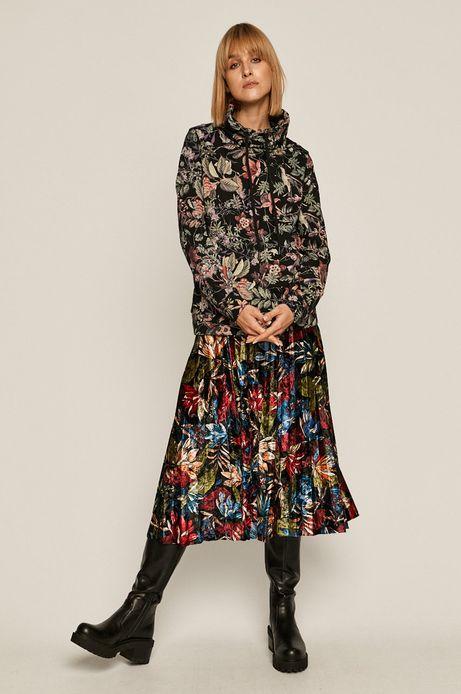 Bluza bawełniana damska z podwyższonym kołnierzem czarna