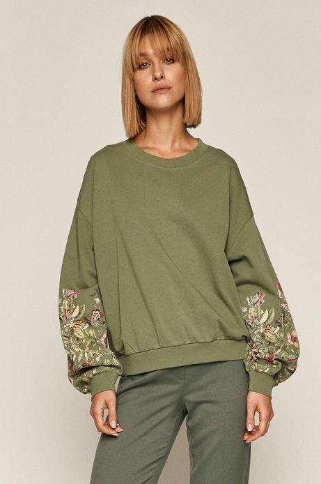 Bluza bawełniana damska z nadrukiem zielona