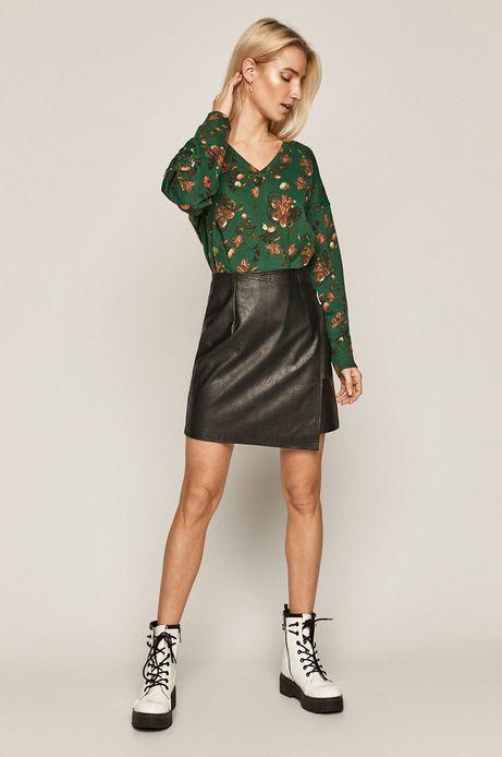 Bluza bawełniana damska z motywem roślinnym zielona