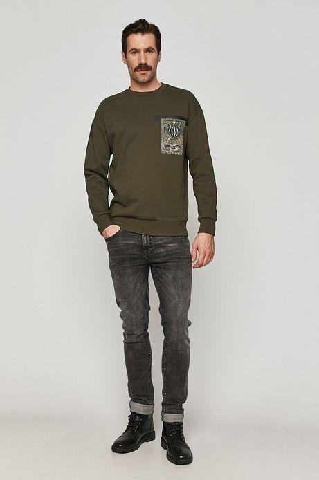 Bluza męska bawełniana z nadrukiem zielona