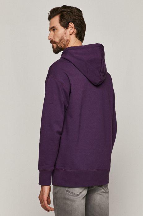 Bawełniana bluza męska z kapturem fioletowa