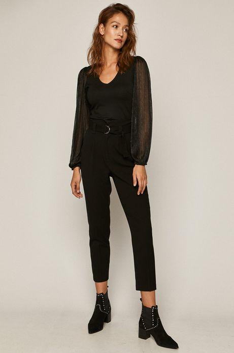 Bluzka damska z transparentnymi rękawami czarna