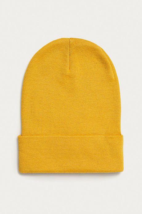 Czapka damska Basic z wywijaną krawędzią żółta