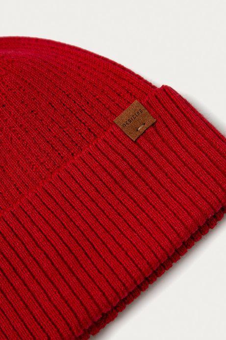 Czapka męska z wywijaną krawędzią czerwona