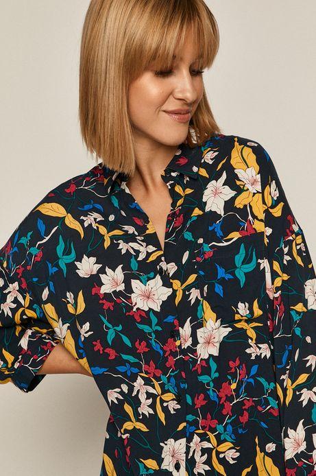 Koszula damska w kwiaty granatowa