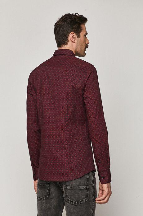 Koszula męska slim wzorzysta bordowa