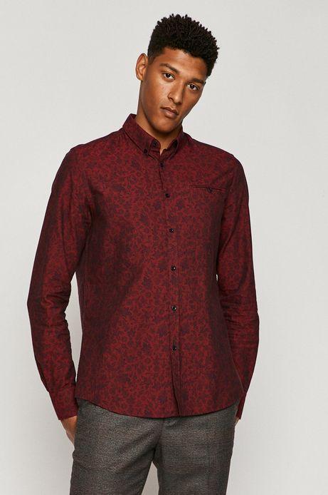 Koszula męska slim bawełniana bordowa