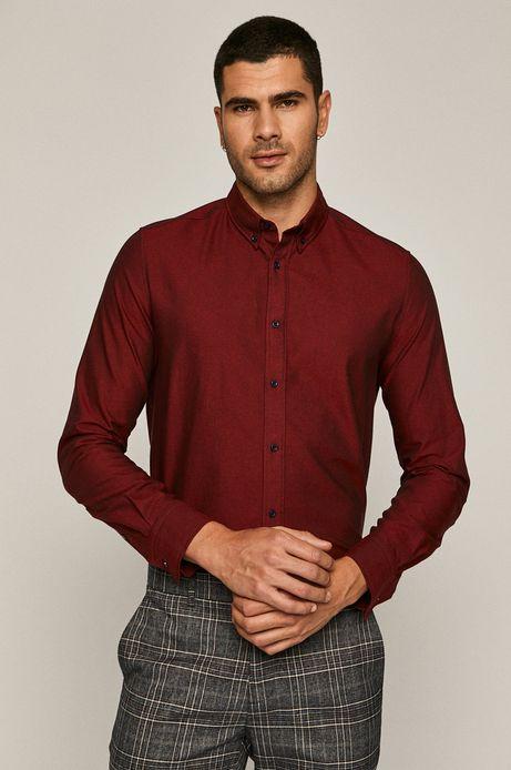 Koszula męska bawełniana slim bordowa