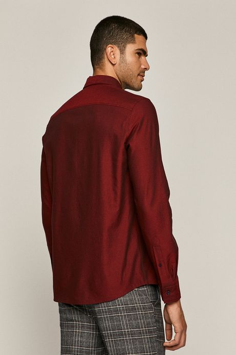 Koszula męska bawełniana regular bordowa