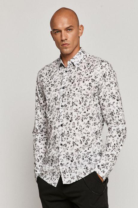 Koszula męska w kwiaty biała