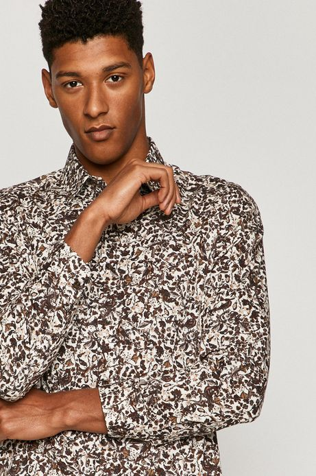 Koszula bawełniana męska wzorzysta biała