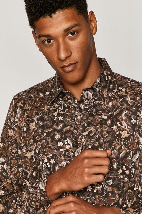 Koszula bawełniana męska wzorzysta brązowa