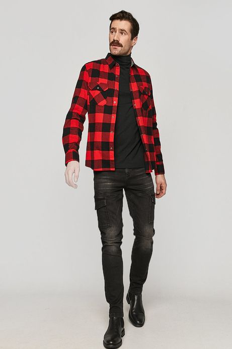 Koszula bawełniana męska w kratkę czerwona