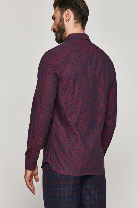 Koszula bawełniana męska wzorzysta bordowa