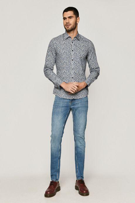 Koszula męska slim bawełniana wzorzysta biała