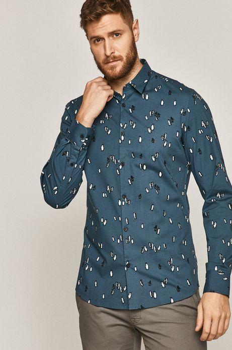 Koszula męska slim z nadrukiem niebieska
