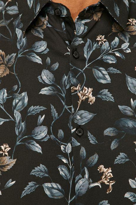 Koszula męska slim z motywem roślinnym granatowa