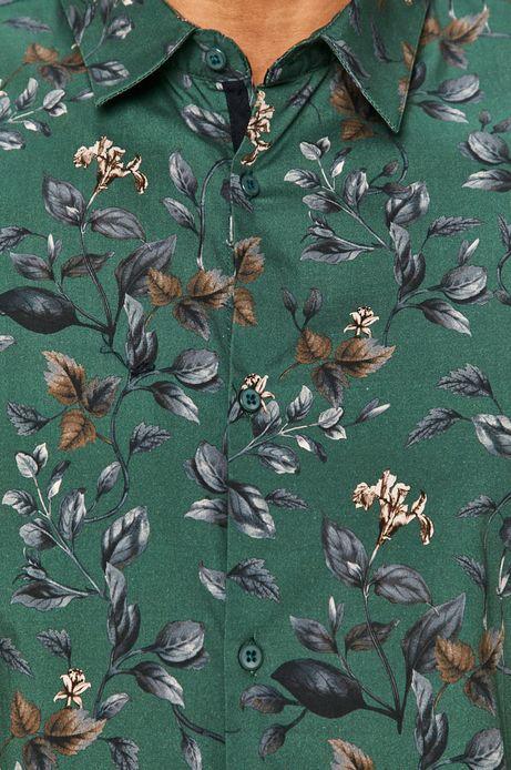 Koszula męska slim z motywem roślinnym turkusowa
