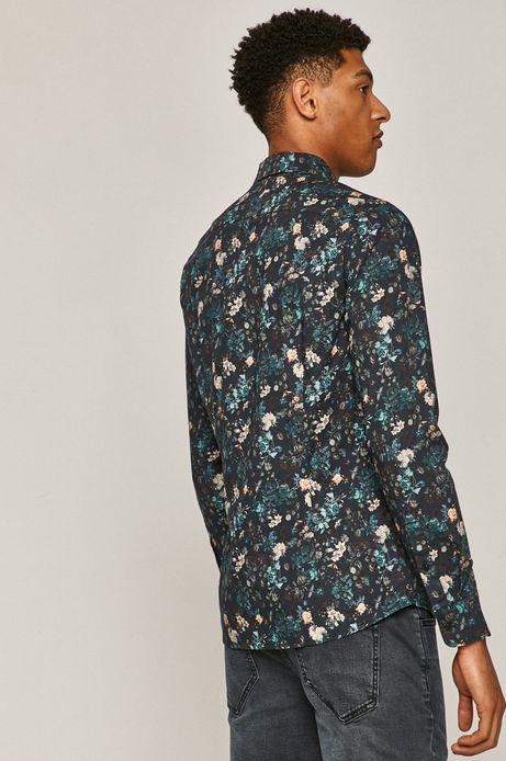 Koszula męska slim z motywem kwiatowym zielona