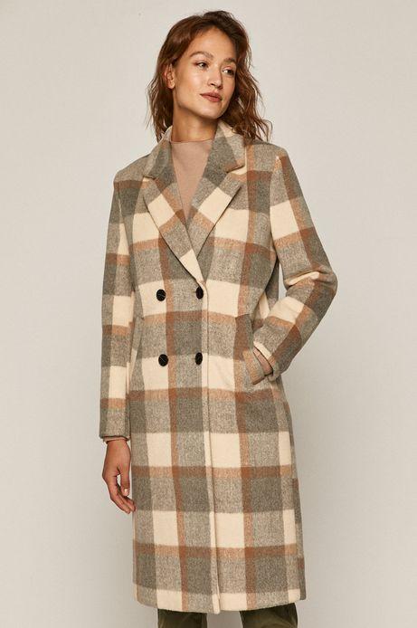 Płaszcz damski dwurzędowy w kratkę beżowy