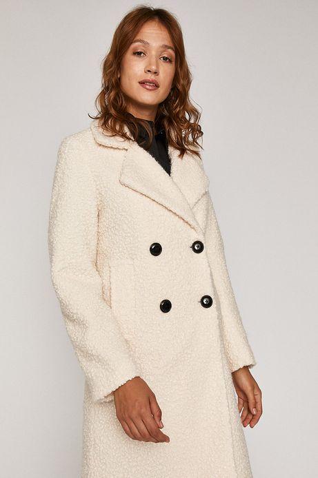 Płaszcz damski dwurzędowy kremowy