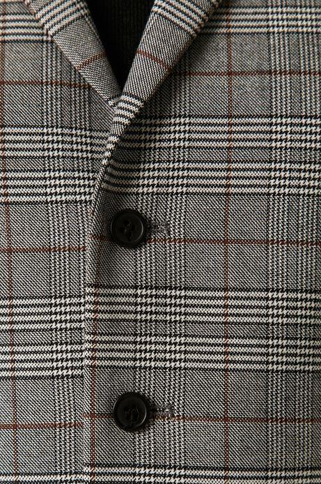 Kamizelka męska z tkaniny w kratkę szara