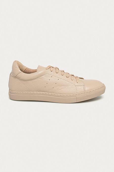 Skórzane buty damskie beżowe