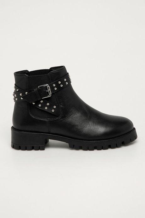 Skórzane botki damskie z ćwiekami czarne