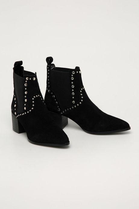 Sztyblety skórzane damskie Black Art czarne