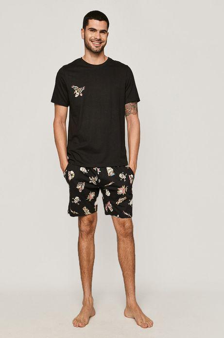 Piżama męska bawełniana z grafiką by Gruby Kruk czarna