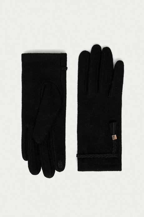 Rękawiczki touch screen damskie wełniane z ozdobnym elementem czarne