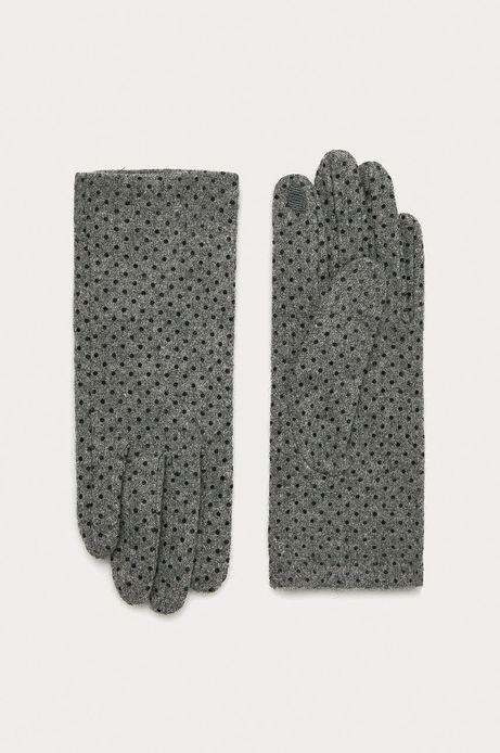 Rękawiczki touch screen damskie wełniane w kropki szare