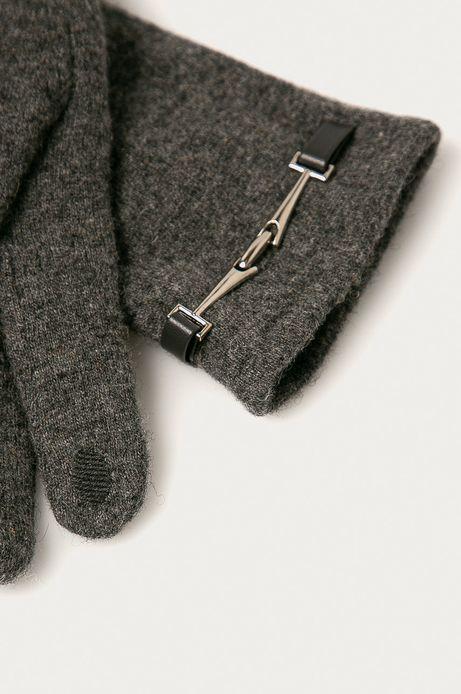 Rękawiczki touch screen damskie wełniane z ozdobnym elementem szare