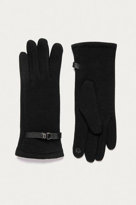 Rękawiczki damskie z ozdobnym elementem czarne