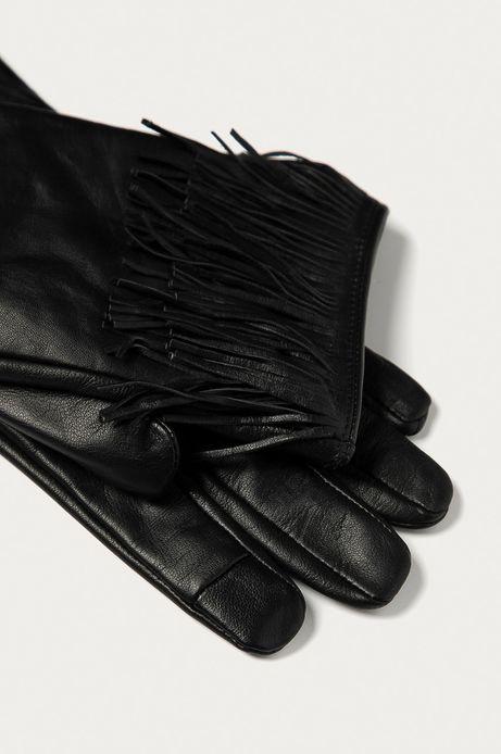 Rękawiczki damskie skórzane z frędzlami czarne