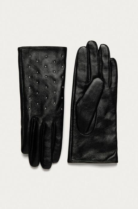 Rękawiczki damskie skórzane z dżetami czarne