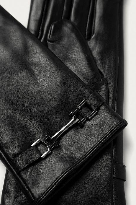Rękawiczki damskie skórzane z ozdobnym elementem czarne