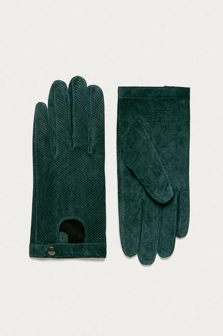 Rękawiczki skórzane damskie zielone