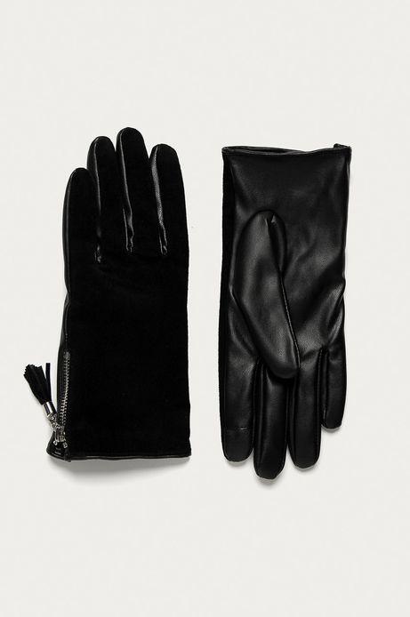 Rękawiczki damskie zamszowe z chwostem czarne