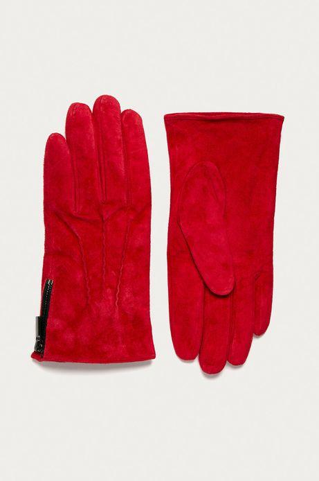 Rękawiczki damskie zamszowe czerwone