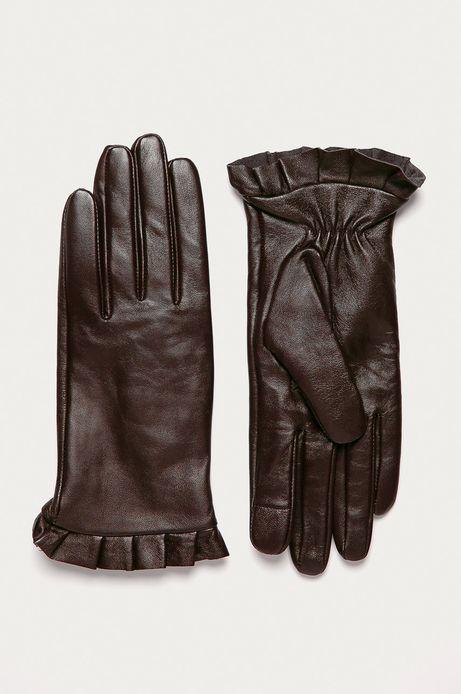Rękawiczki damskie skórzane touch screen brązowe