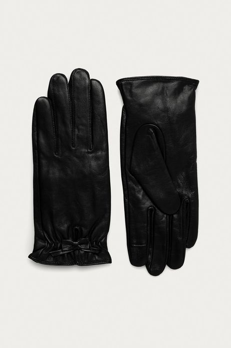 Rękawiczki damskie skórzane z kokardką czarne