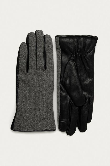 Rękawiczki damskie skórzane czarne/ szary melanż