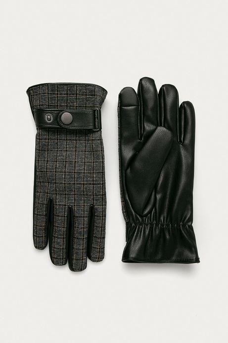 Rękawiczki męskie  touch screen w kratkę czarne