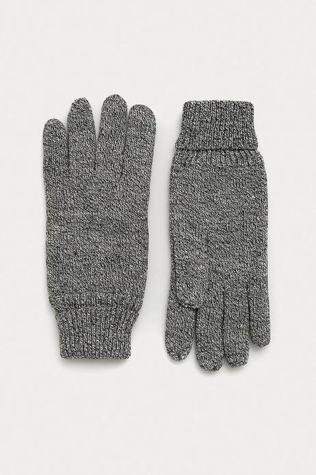 Rękawiczki męskie z melanżowej dzianiny szare
