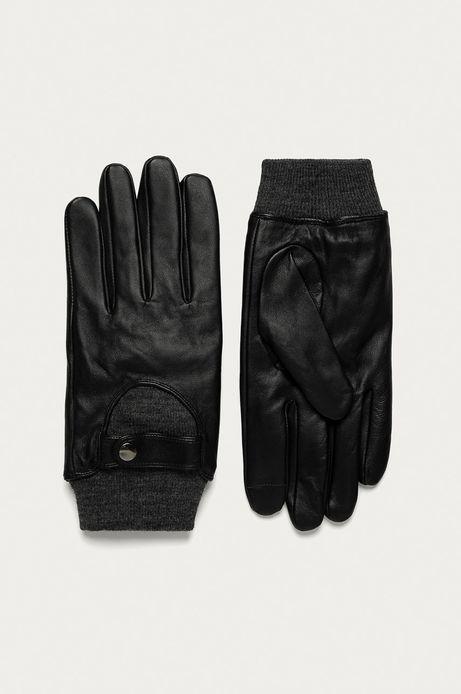 Rękawiczki skórzane męskie touch screen czarne